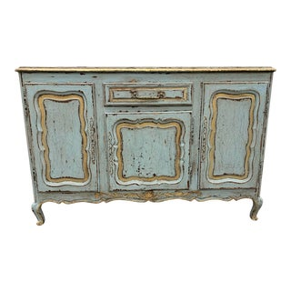 19th C French Country Painted Sideboard Buffet For Sale