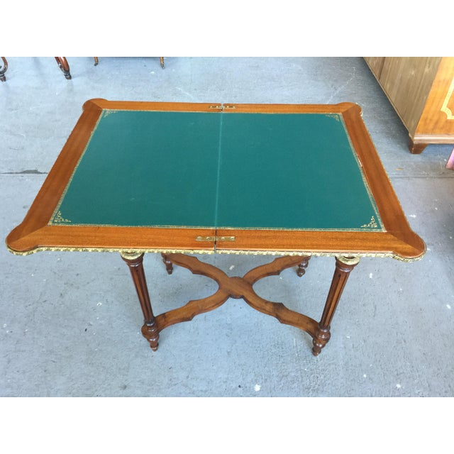 Animal Skin Louis XV Style Flip Top Game Table For Sale - Image 7 of 11