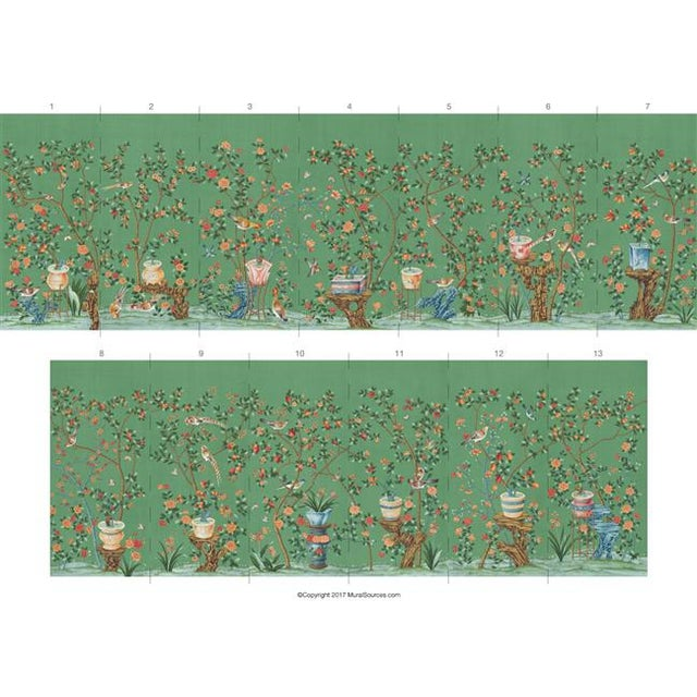 "Asian Casa Cosima Green Fauna Mural - 2 Panels 72"" W X 84"" H For Sale - Image 3 of 5"