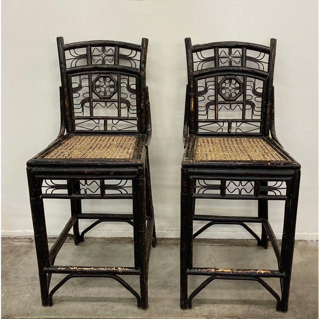 Brighton Bamboo Counter Chairs - a Pair For Sale - Image 11 of 11