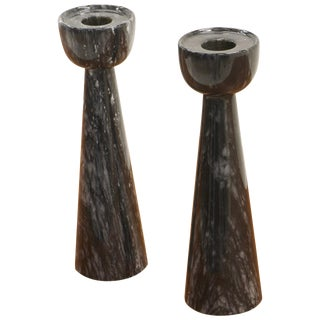 Pair of Black Marble Candlesticks Imported by Raymor, Italy, 1950s, Excellent For Sale