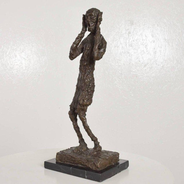 "Art Deco Bronze Sculpture ""The Scream"" Edvard Munch Midcentury For Sale - Image 3 of 10"