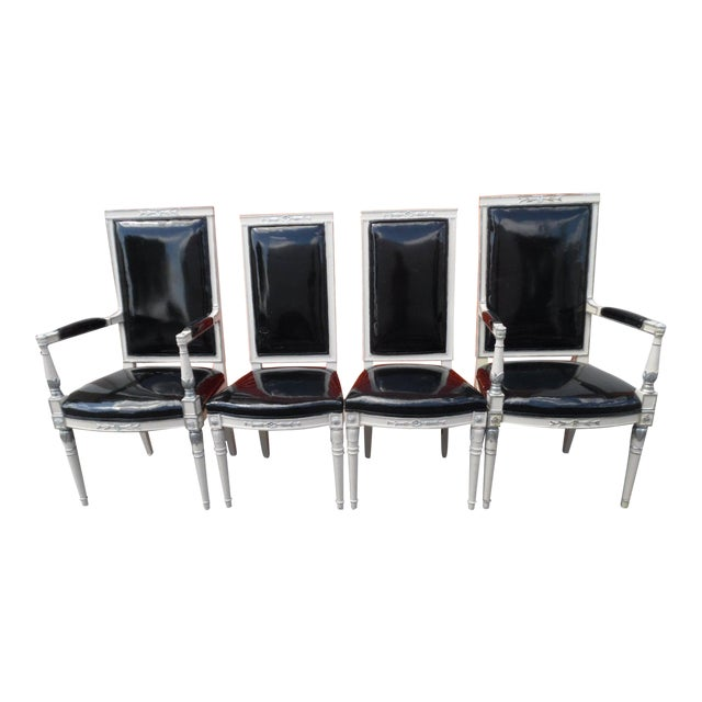 Vintage Hollywood Regency Wood Dining Chairs- Set of 4 For Sale