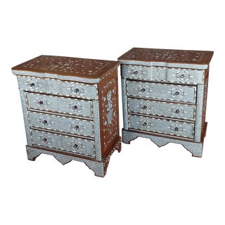 1920s Syrian Beautiful Mother-Of-Pearl Inlay Chests Nightstands - a Pair For Sale