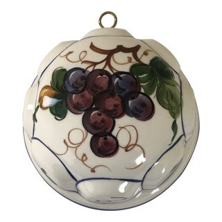 1980s Decorative Ceramic Bowl Wall Art With Grapes For Sale