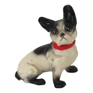 Vintage Hand Painted Cast Iron French Bulldog Coin Bank For Sale