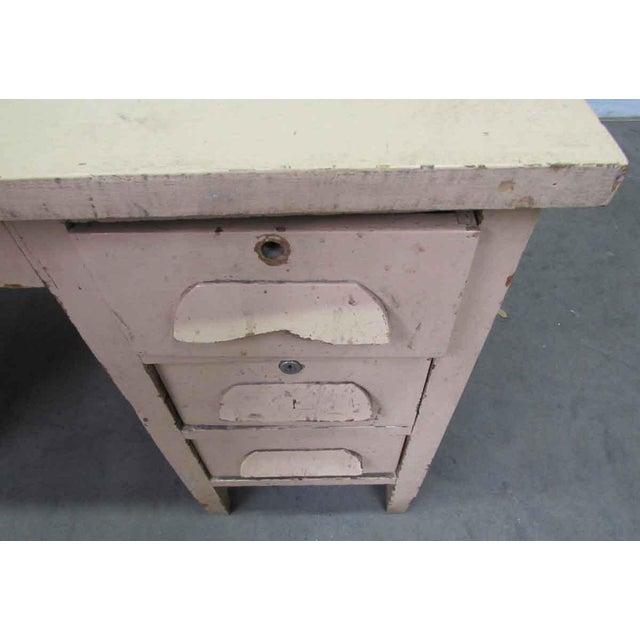 Brown Vintage Six Drawer Oak Wood Desk For Sale - Image 8 of 8
