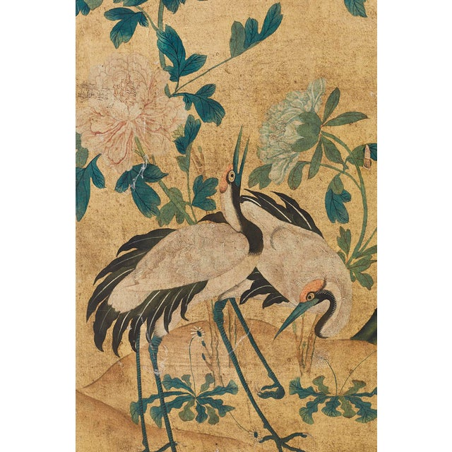 Continental Painted Chinoiserie Wallpaper Screen With Decoupage For Sale - Image 9 of 13