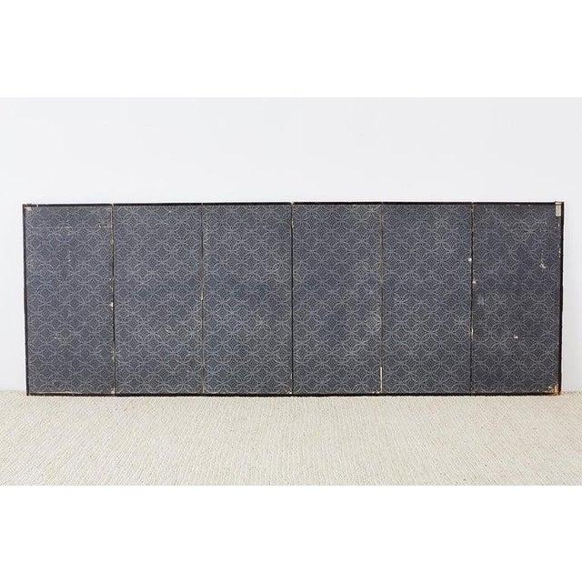 Pair of Japanese Six Panel Meiji Crane Landscape Screens For Sale - Image 12 of 13