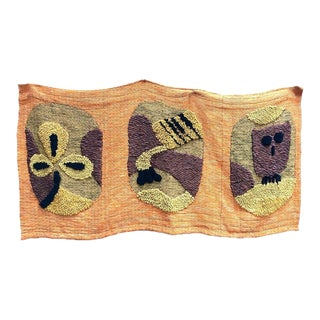 1950s Giant Hand-Loomed Polynesian Abstract Tapestry For Sale
