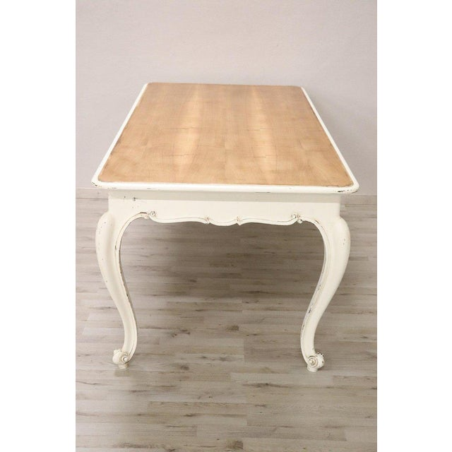 20th Century French Country Provencal Louis XV Style Painted Dining Room Table For Sale - Image 6 of 10