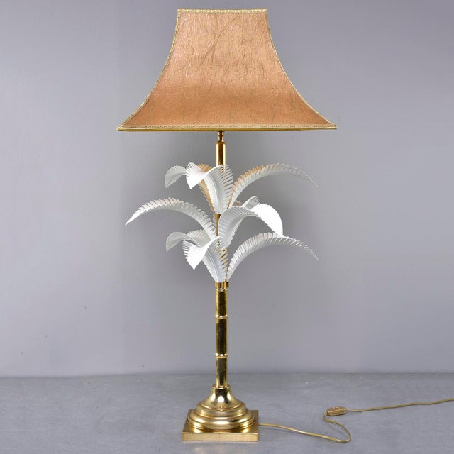1970s 1970s Hollywood Regency Brass Lamp With Parchment Shade For Sale - Image 5 of 11