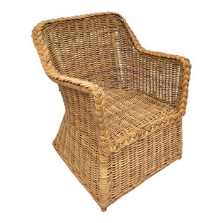 Vintage Skirted Woven Rattan Lounge Chair For Sale