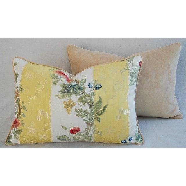"26"" X 18"" Designer Scalamandre Silk Lampas Feather/Down Pillows - Pair - Image 9 of 10"