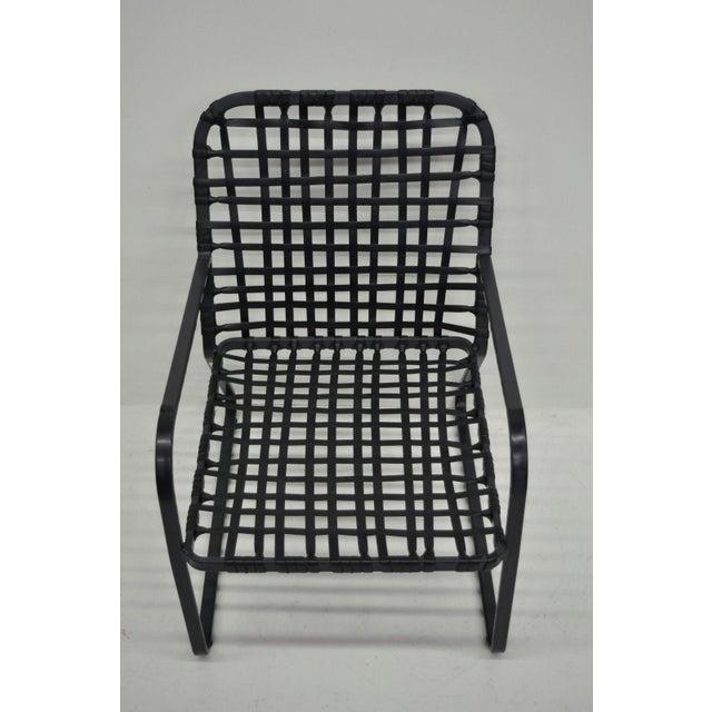 Pair of Brown Jordan Lido Aluminum Vinyl Strap Patio Pool Lounge Chairs Black A - Image 6 of 11