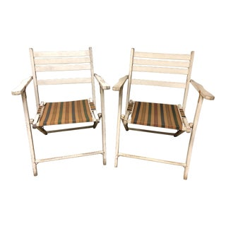 Vintage White Wood Folding Chairs - a Pair For Sale