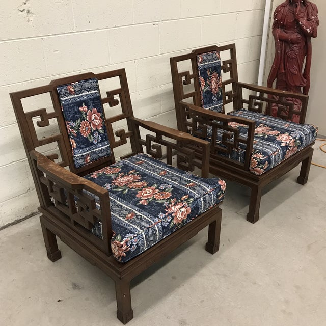 Asian Rosewood Carved Greek Key Chairs - a Pair For Sale - Image 3 of 12