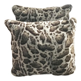 Wildlife Brown and Light Blue Animal Print Faux Fur Pillows - a Pair For Sale