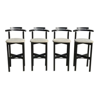 1970s Vintage Gangso Mobler Danish Ebony Bar Stools - Set of 4 For Sale
