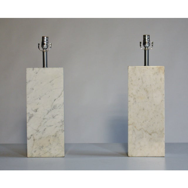 Mid-Century Modern Nessen Marble Lamps - A Pair For Sale - Image 3 of 5