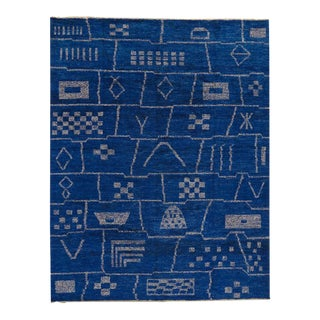 Contemporary Moroccan Style Area Rug in Cobalt Blue with Tribal Style For Sale