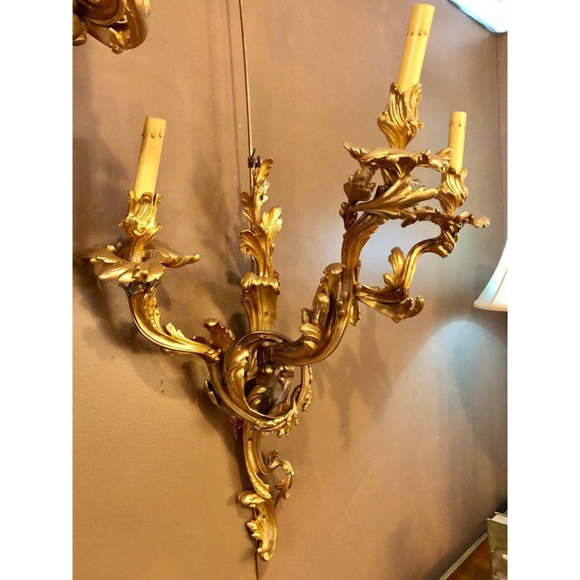 Louis XVI Style Bronze Three Light Gilt Bronze Sconces - a Pair For Sale In New York - Image 6 of 11