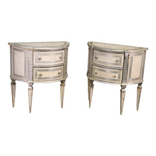 Pair Italian Florentine Demilune Nightstands Commodes in Silver Leaf and White For Sale