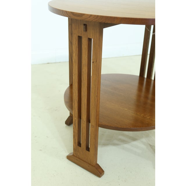 Stickley Round Mission Oak Occasional Lamp Table For Sale In Philadelphia - Image 6 of 8