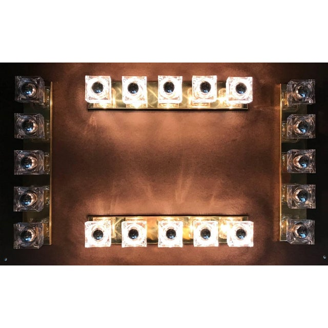 Murano Glass Cube Brass Sconces / Flush Mounts by Fabio Ltd For Sale - Image 10 of 11