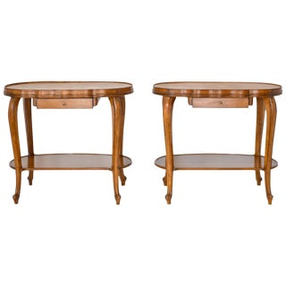 Pair of Italian Hollywood Regency Fruitwood Side Tables With Inset Marble Tops For Sale