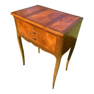 1930s French Louis XV Style Mahogany Vanity With Inlaid Marquetry For Sale