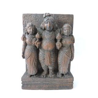 Vintage Hand Carved Indian Teak Sculptural Wall Hanging, Three Hindu Figures For Sale