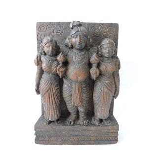 Vintage Hand Carved Indian Teak Sculpture Wall Hanging, Three Hindu Figures For Sale