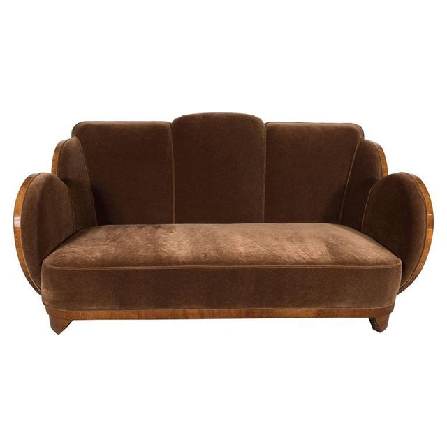 "Gorgeous Art Deco ""Cloud"" Series Sofa in Bookmatched Walnut and Chestnut Mohair For Sale - Image 9 of 9"