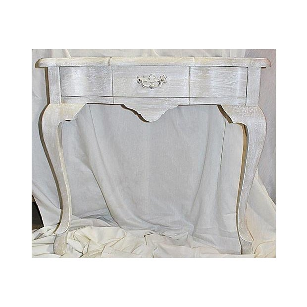 Queen Anne Queen Anne Faux-Painted White Wall Console Table For Sale - Image 3 of 7