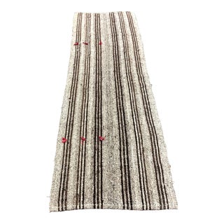 1960 Vintage Primitive Nomadic Turkish Handmade Striped Kilim Rug- 2′6″ × 8′11″ For Sale