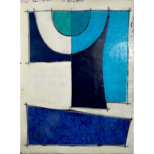 """Turquoise """"Better Days"""" Encaustic Collage Installation by Gina Cochran - 9 Panel Set For Sale - Image 8 of 13"""