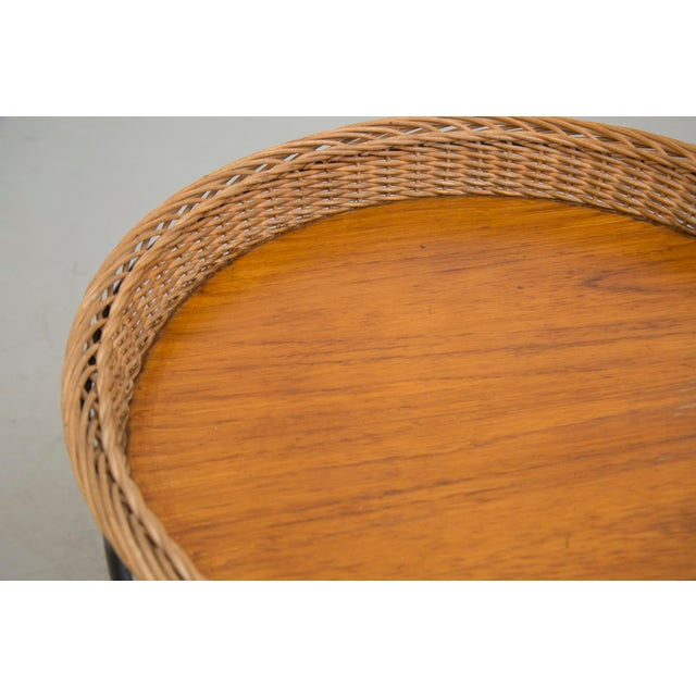 Teak and Woven Rattan Rolling Cart - Image 5 of 7