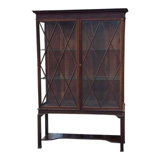 19th Century English Mahogany Signed Curio Cabinet ~ Bookcase For Sale