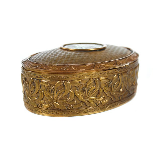 """19th c. bronze and enamel 5"""" oval jewelry box. This piece has exquisite detail and design!"""