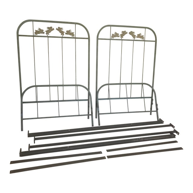 'Jumping Bunny' Twin Iron Beds by Corsican - A Pair For Sale