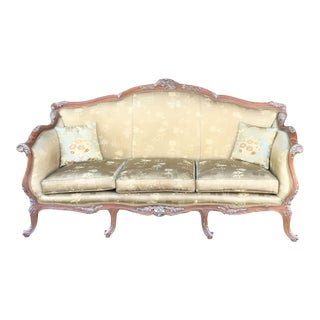 Antique French Olive Green Silk Upholstered Carved Wood Sofa For Sale