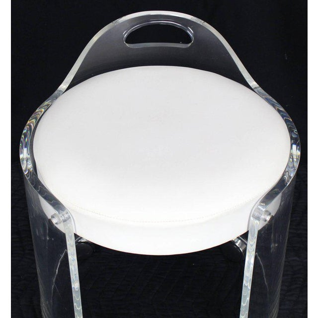 Round Bent Lucite Upholstered Bench Stool on Wheels For Sale - Image 4 of 10