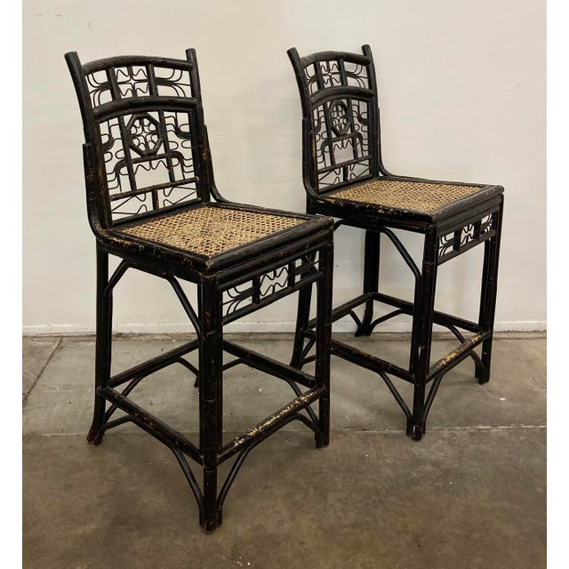 Set of 2 beautiful, vintage Brighton style counter chairs. These are so fabulous, with loads of detail! The chairs are in...