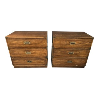 Campaign Bernhardt 3 Drawer Bachelor Chests - a Pair For Sale
