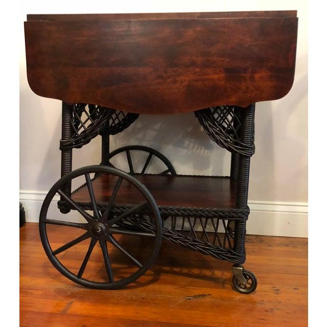 1890's Victorian Heywood Wakefield Wood Drop Leaf Tea Cart For Sale - Image 11 of 11