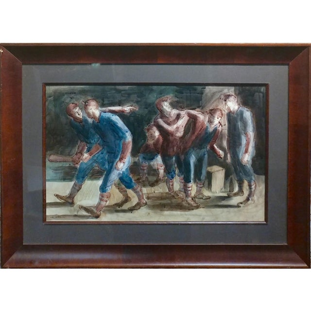 Carl Hugo Beetz- Taking the Baseball Field - Mix Media Painting- c1939 ink, Watercolor & Guache on paper under glass...