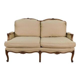 1970s Vintage Baker Furniture French Carved Walnut Silk Upholstered Settee For Sale