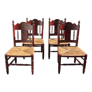 Set of 4 Indigo Blue of the Ivy Beverly Hills Country Cottage Dining Chairs
