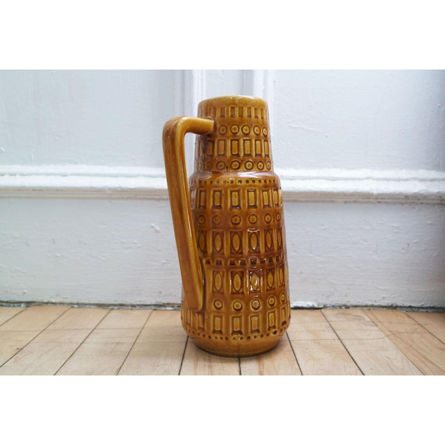 Scheurich Keramik 1960s Mid-Century West German Scheurich Keramik Inka Mustard Ceramic Pitcher For Sale - Image 4 of 10